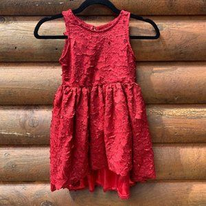 Chasing Fireflies Red 3D Floral Hi Low Dress 5